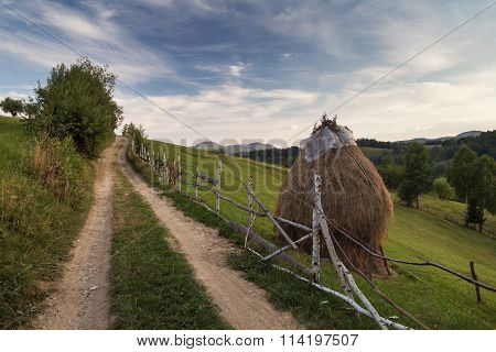 Summer rural landscape in the Carpathian mountains