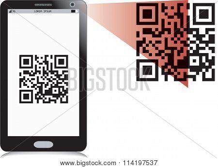 Mobile phone reading QR2 code