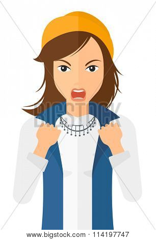 Raging woman screaming.