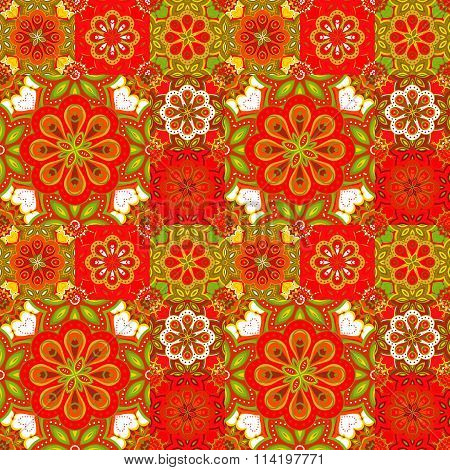 Seamless pattern on the tiles, majolica, arabic, red, green, orange, vector