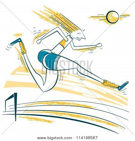 Athlete Jumping Sport Illustration.