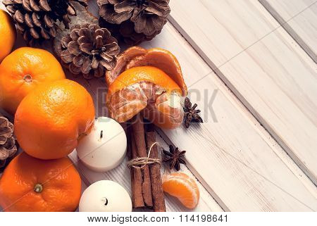Tangerines, Cinnamon Sticks, Star Anise And Candle