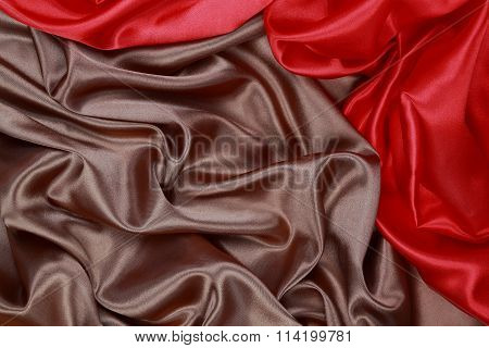 Brown And Red Silk Satin Cloth Of Wavy Folds Texture Background