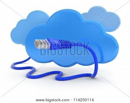 Cloud and computer cable. Image with clipping path.