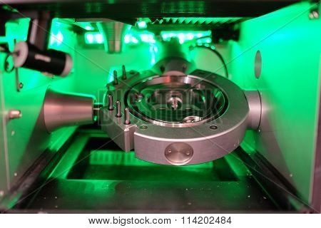 closeup metalworking machine