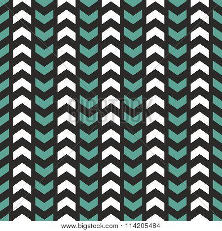 Tile vector pattern with white and mint green zig zag print