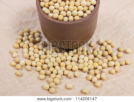 Soya Beans On Paper Surface.