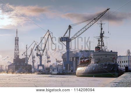 Museum Icebreaker Krasin On The River Neva In Winter, St. Petersburg