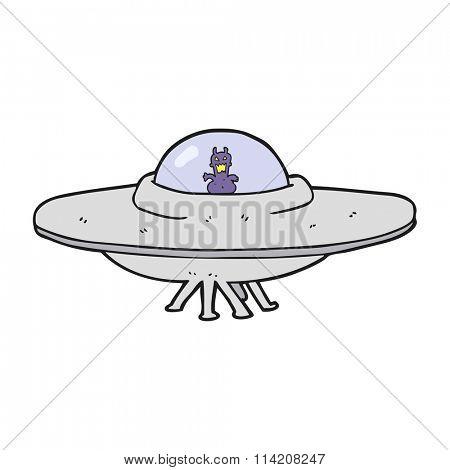 freehand drawn cartoon UFO