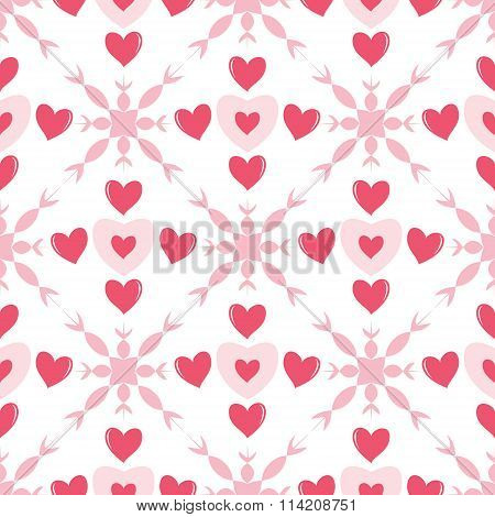 Seamless Romantic Pattern With Hearts And Fantasy Flowers