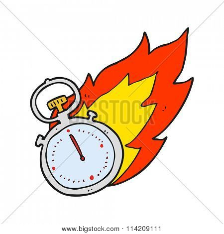 freehand drawn cartoon flaming stop watch
