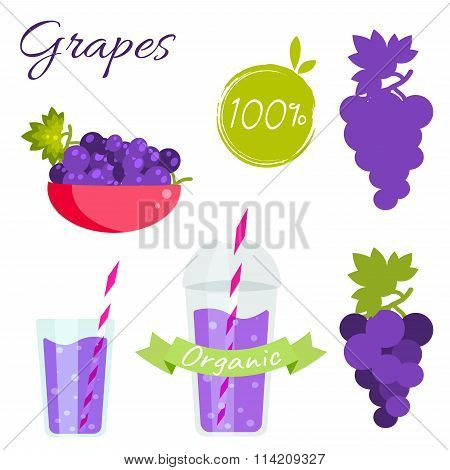 Grapes Fruit And Juice Vector Set.
