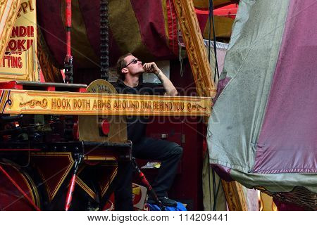 Man running fairground ride