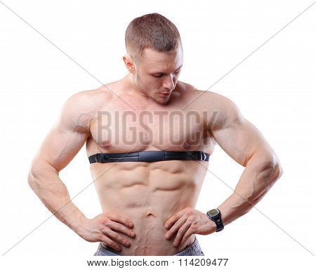 Shirtless athlete man posing with heart rate watch isolated on white