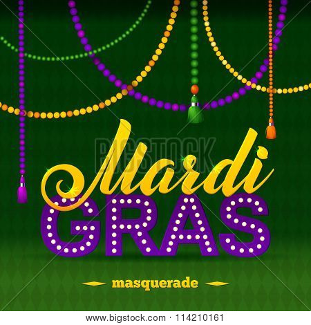 Mardi Gras Party Poster. Calligraphy And Typography Card. Beads Tassels And Fleur De Lis Symbol. Hol