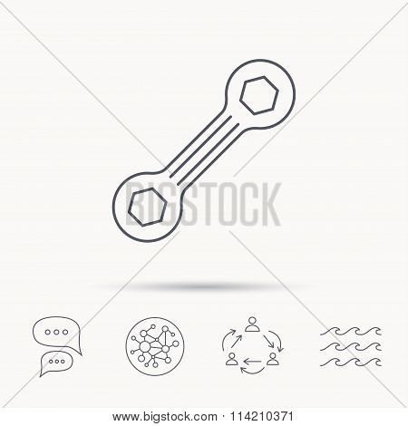 Spanner tool icon. Repairing service sign.