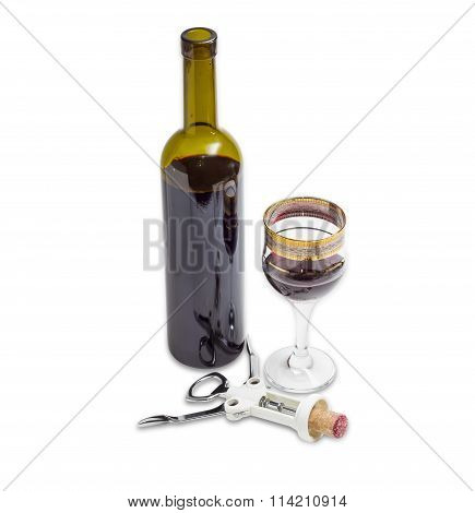 Red Wine And Corkscrew With Cork On A Light Background