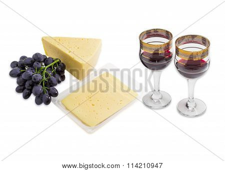 Red Wine, Grapes And Cheese On A Light Background