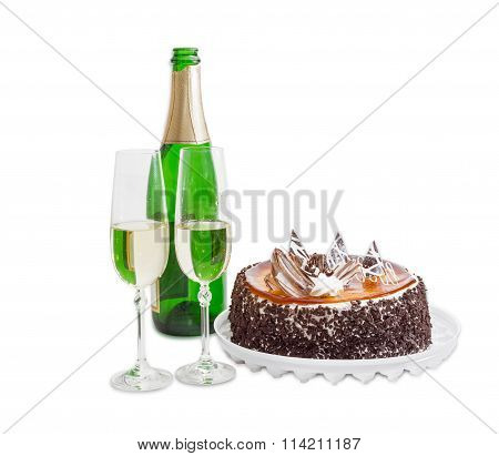 Sparkling Wine And Sponge Cake With Jelly And Chocolate