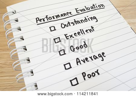 Performance Evaluation Check Box
