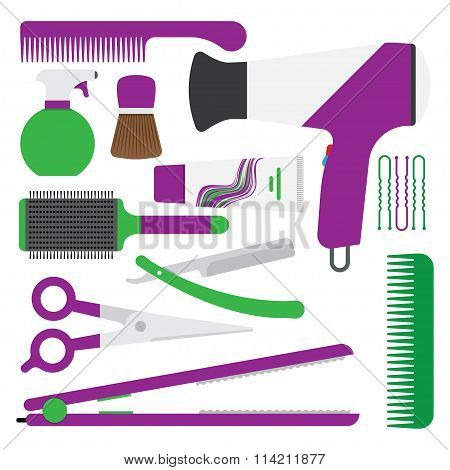Hairdressing symbol. set of accessories for hair.