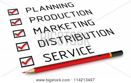 Planning, production, marketing, distribution, service. List with the marks