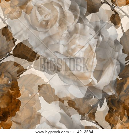 art vintage monochrome  watercolor blurred floral seamless pattern with white roses and brown peonies on light background. Double Exposure effect