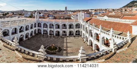 Fisheye View Of Felipe Neri Monastery In Sucre, Bolivia