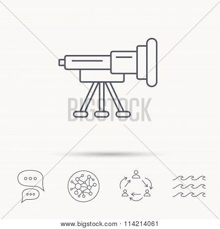 Telescope icon. Spyglass sign.