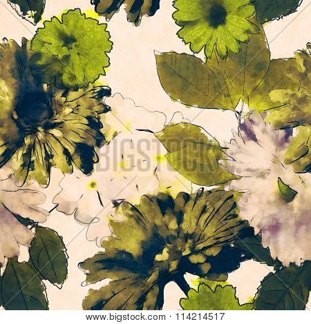 art vintage monochrome watercolor floral seamless pattern with white and green asters and gerberas isolated on white background