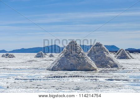 Piles Of Salt In Salar De Uyuni, Bolivia