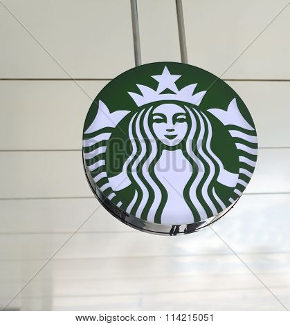 Bucharest, Romania - January 9, 2016: Starbucks Logo. Starbucks Coffee Is A Very Popular Brand Name