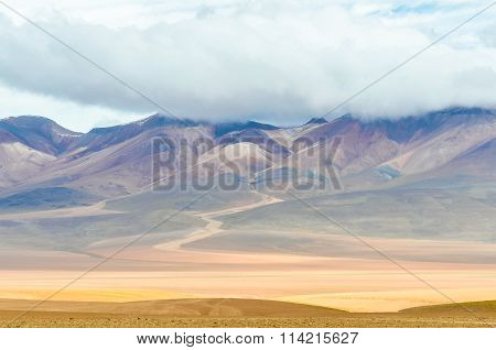 Colorful Mountains In The High Andean Plateau, Bolivia