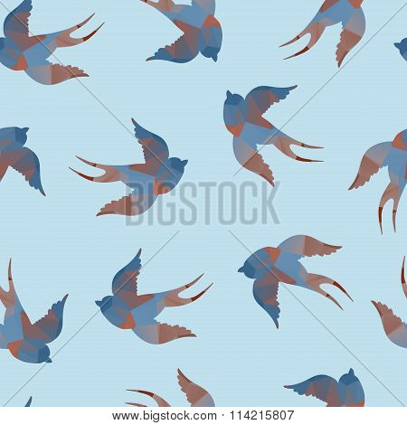 Abstract vector colorful seamless pattern with swallows