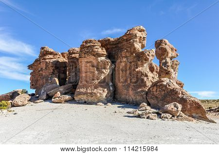Rock Formations In The High Andean Plateau In Bolivia
