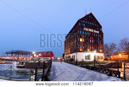 Half-timbered building located in the Old Town district of Klaipeda.