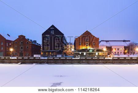 Early morning on the main city quay. Klaipeda, Lithuania
