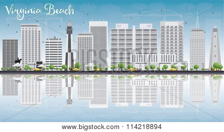 Virginia Beach (Virginia) Skyline with Gray Buildings and Reflections. Vector Illustration. Business Travel and Tourism Concept with Copy Space. Image for Presentation, Banner, Placard and Web Site