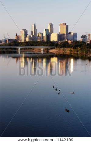 Minneapolis Skyline And Geese
