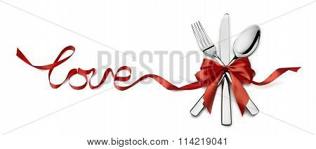 Valentine Silverware In Red Ribbon Love Design Element Isolated