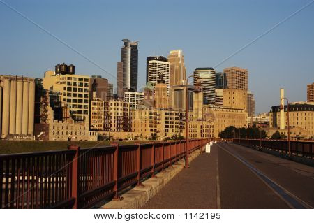 Minneapolis Skyline And Walkway.