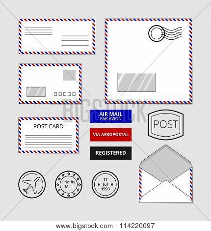 Airmail envelopes, postcard and badges vector set