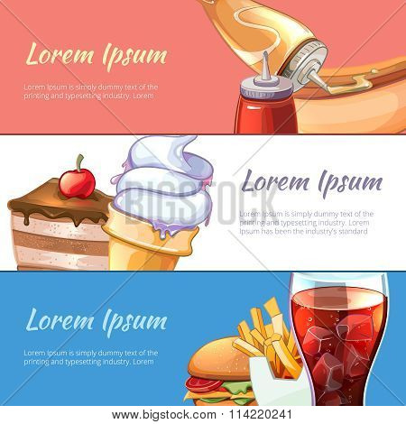 Vector Fast Food horizontal banners set