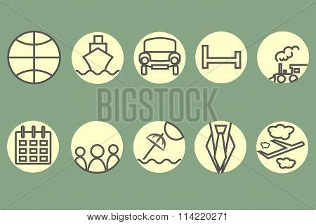 The route icons, hotel icons. Black, gray contour train, ship, car, aircraft, trains, umbrellas
