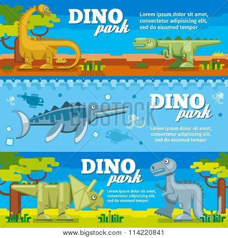 Dinosaur horizontal banners set in flat design style