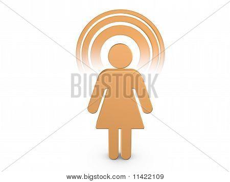 Coral Spiritual Girl With Visible Color Aura
