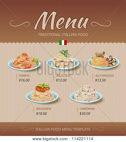 Pasta restaurant menu. Vector design template