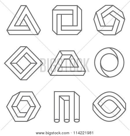 Impossible geometric shapes in linear outline style. Vector hipster elements