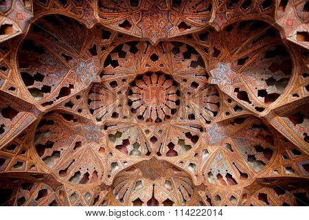 Antique Ceiling With Music Instruments Patterns In Palace Built In Early Seventeenth Century In Iran