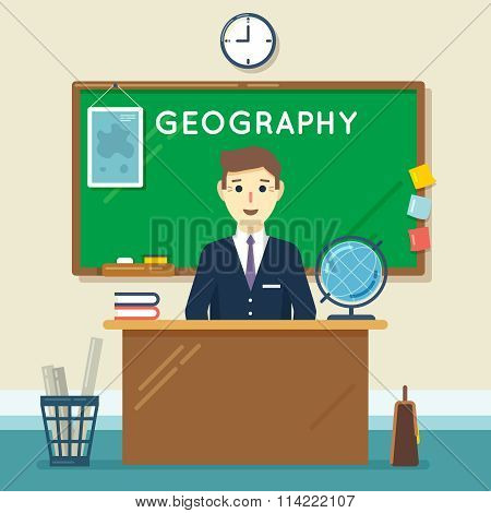 School teacher in classroom. Geography lesson. Vector illustration  flat style